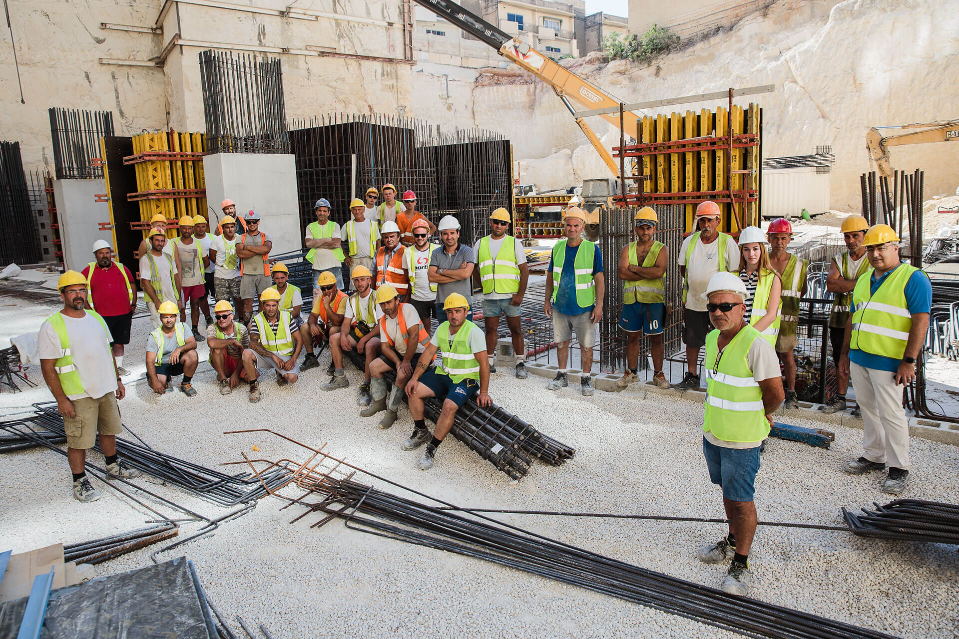 J. Portelli Projects's team of skilled stone masons currently involved in the preparatory and foundation works of Mercury Towers.